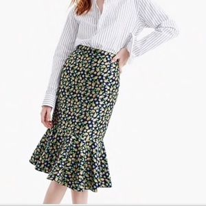 J Crew Sz 6 Navy & Lemon Trumpet Skirt